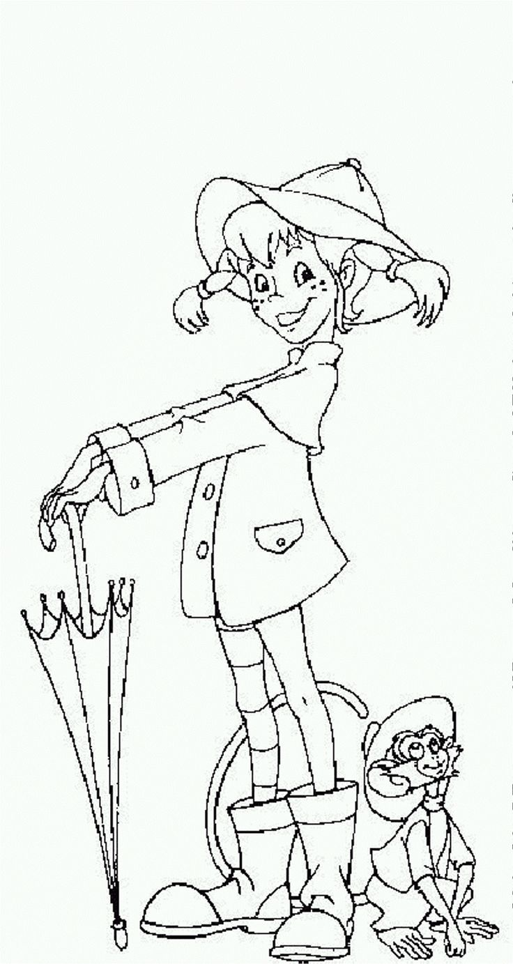 Pippi Longstocking Coloring Page Coloringplus