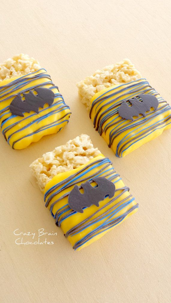 Batman Chocolate Dipped Rice Krispie Treats by CrazyBrainChocolate