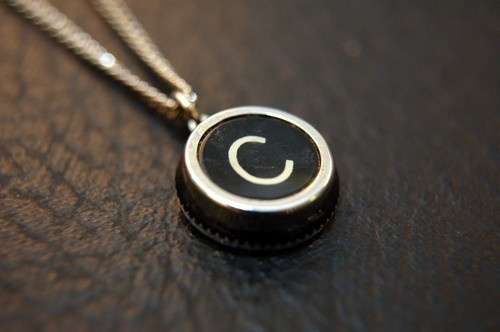 Initial Letter C Vintage Typewriter Key Pendant by GwenDelicious