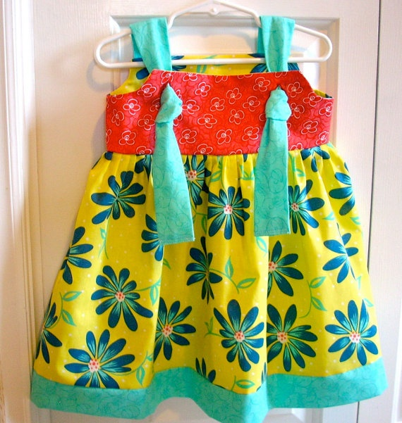 Bright sundress with knotted straps in spring colors by LocalLucy, $15.00