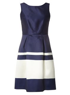 **Luxe Navy Stripe Prom Dress