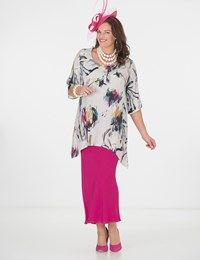 Plus size Box 2 multi crepe print round neck top and skirt
