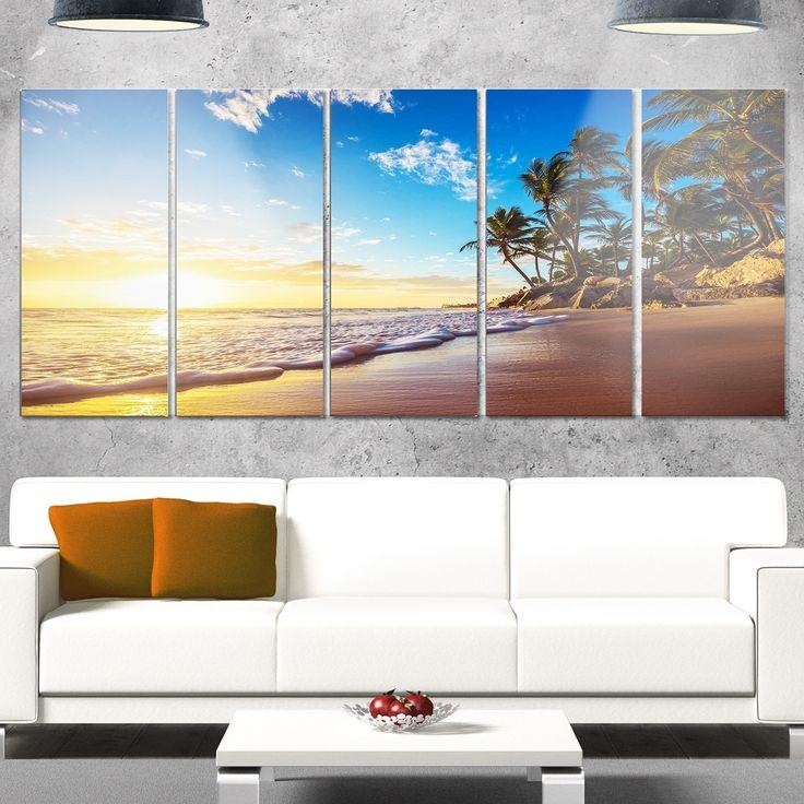 Designart 'Paradise Tropical Island Beach Sunrise' Modern Seashore Metal Wall Art