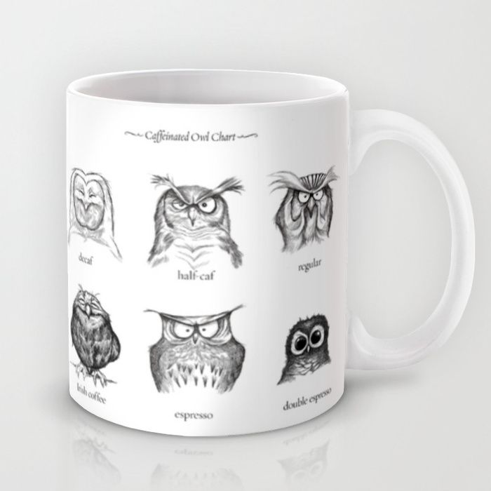This cracks me up. And anything that can get my day going with a smile is a very good thing. Double Espresso is my favorite. :: Caffeinated Owl Chart Mug by Dave Mottram