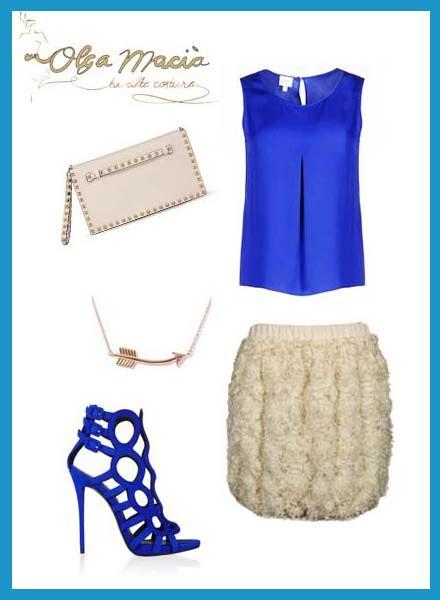 Un look muy chic de verano compuesto por la Falda Globo de Tul con Flores de #olgamacia. Toques de azul para las noches de verano #looks #blue #fashion www.olgamacia.com