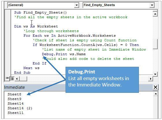 Excel VBA Immediate Window Debug Print List All Empty Sheets Example ...