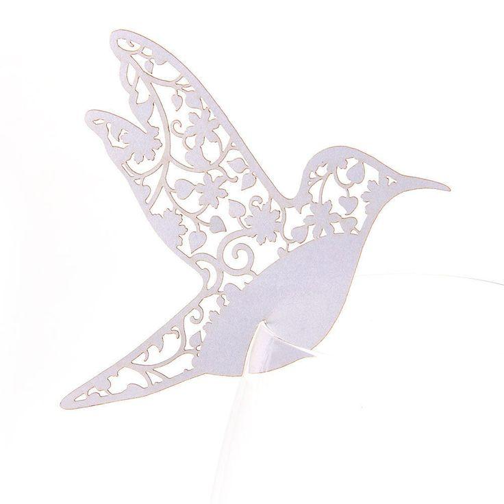 50x Carte Nom Marque Place Verre Laser Coupe Oiseau Blanc Déco Mariage Soirée