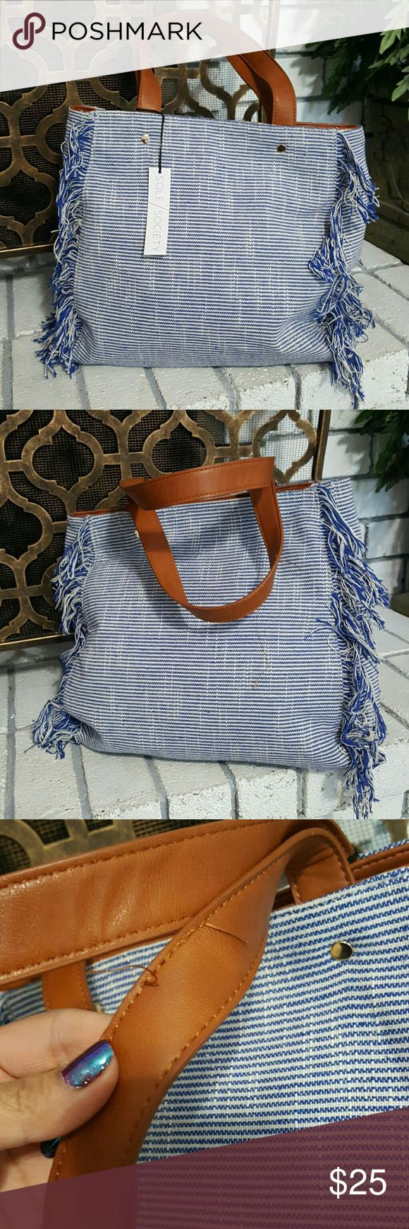 Sole Society Huxlee Fabric Tote Handbag New Sole society handbag.. Called the Huxlee Fabric Tote.. Blue and white stripes with fringe sides.. Has a lo