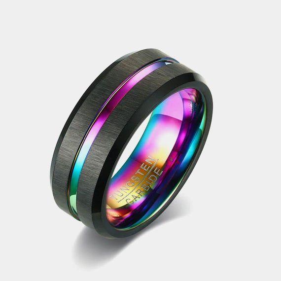 Custom Couple Rings-Wide 8mm Men Ring Personalized Custom Black Tungsten Blue Fiber Black Dragon Diamond Custom Promise Ring