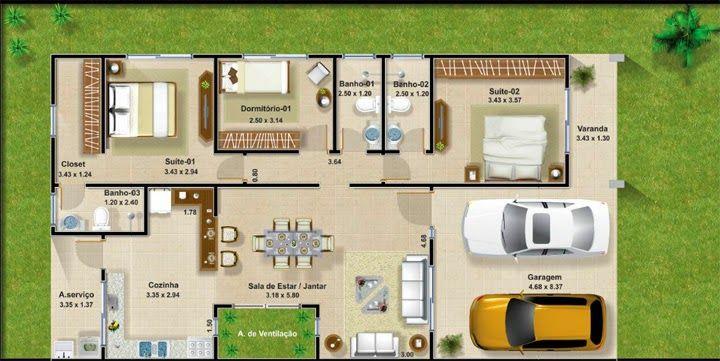 Plantas casa geminada 70 m pesquisa google plantas for Sala de 9 metros quadrados