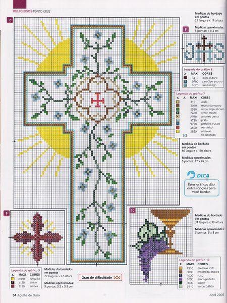 Punto de cruz sacro - cruz para casulla o paño de altar