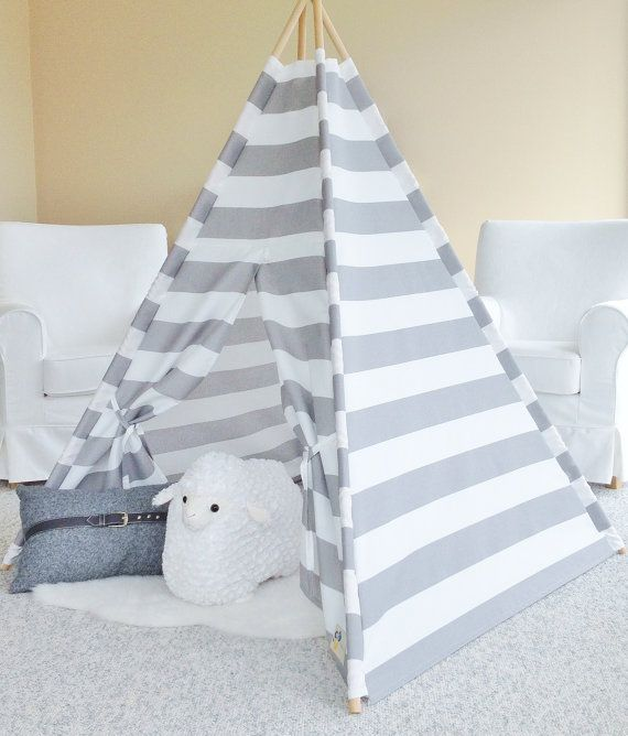 Grey Stripe Indoor/Outdoor Fabric Play Tent Teepee Playhouse