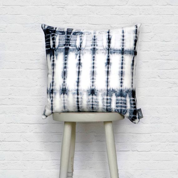 Hand Dyed Fishbone Cushion in Blue, Shibori, Indigo, 100% Cotton