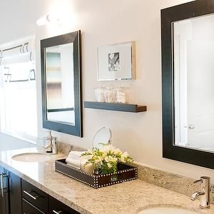 Espresso Double Vanity with Granite Countertop, Contemporary, bathroom, Ashley Winn Design