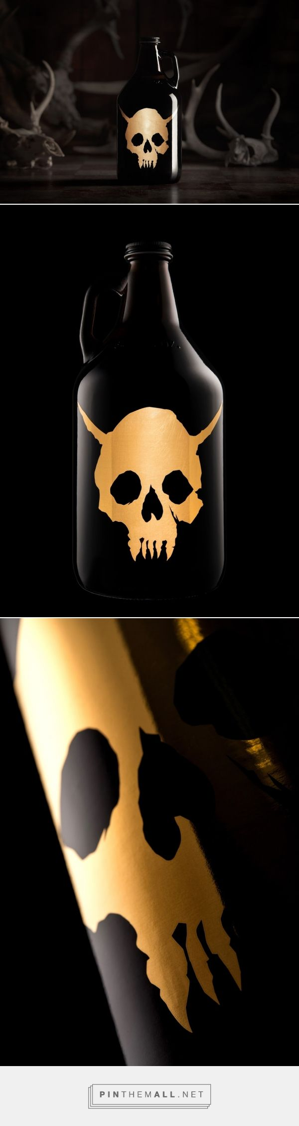 Gold Demon Skull Growler packaging design by Hired Guns Creative - http://www.packagingoftheworld.com/2017/11/gold-demon-skull-growler.html