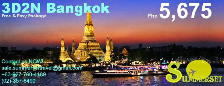 Bangkok Free and EasyPackage Valid Until April 30,2014  Contact Us Now for more details and for more offer 09277604189 023578490  ALSO AVAILABLE: Hongkong Package Bangkok Package Malaysia KL package Singapore Package Etc..... LOCAL: Bohol Boracay Cebu Coron El Nido Palawan Etc...