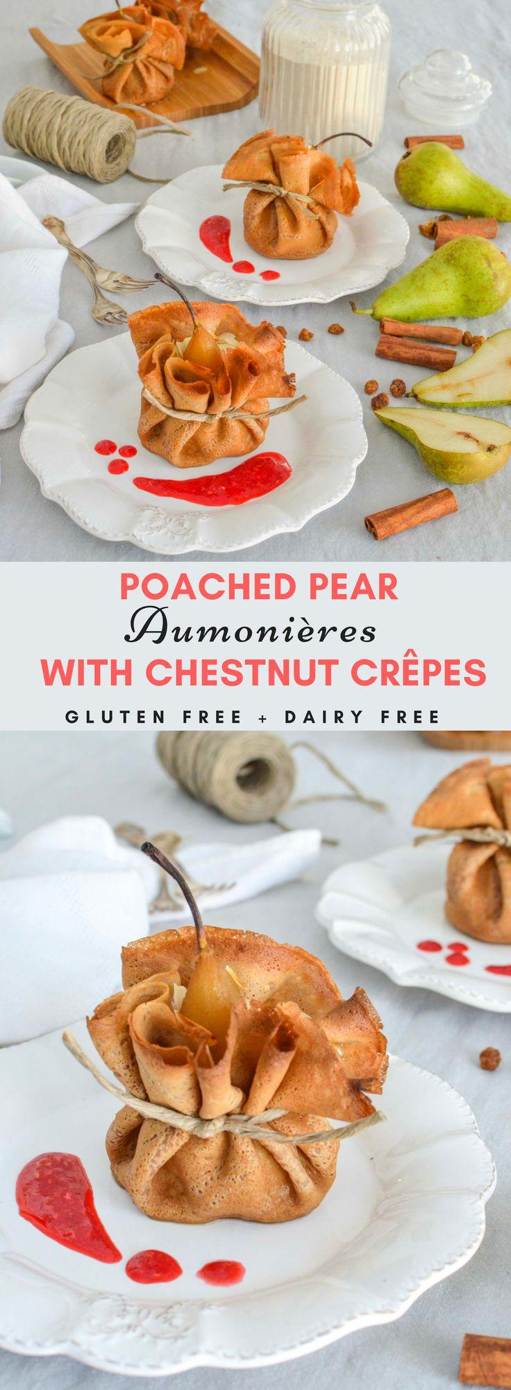 Poached Pears Aumônières with Gluten Free Chestnut Flour Crêpes