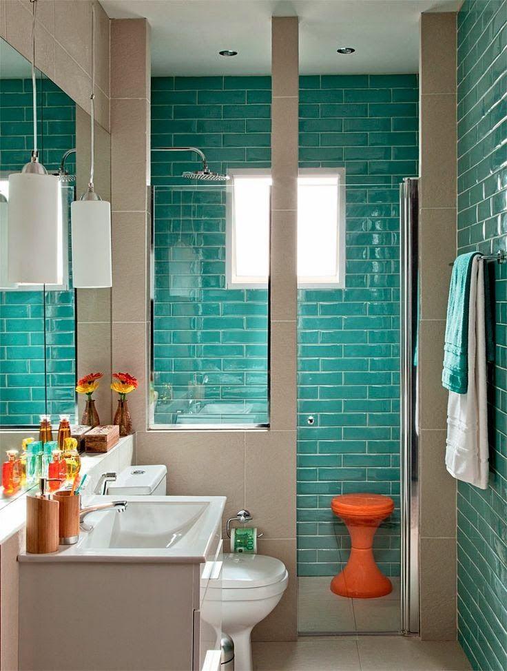 Banheiros e lavabos pequenos ba os ba o y turquesa - Banos turquesa y marron ...