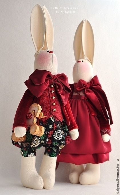 Animales de juguete, hecho a mano.  Orden Pendiente mágico .... Jigoro Natalia.  Masters Feria.  Liebres Navidad, conejo de juguete