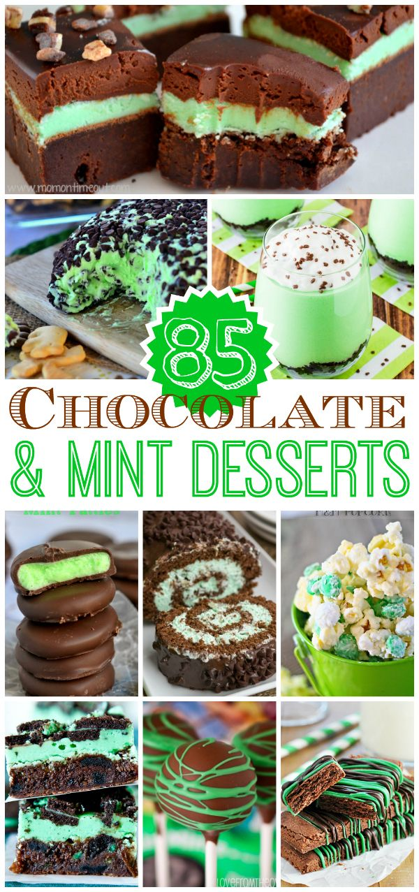85 Chocolate and Mint Desserts from your favorite bloggers! | MomOnTimeout.com