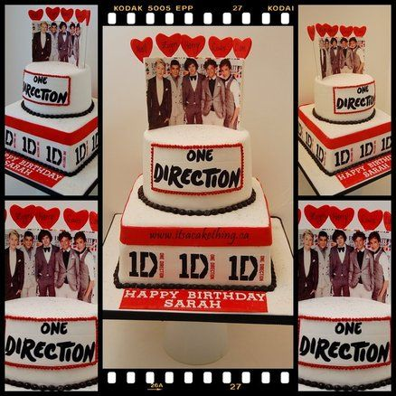 ONE DIRECTION CAKE!! almost perfect for my 18th birthday. this cake needs to say Ciarra instead of Sarah