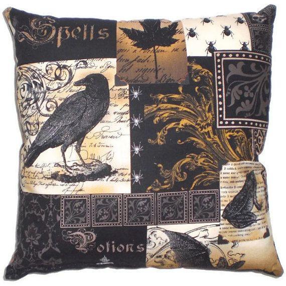 Gothic Raven Pillow Victorian Steampunk Home Decor by AllegraB