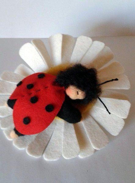 Ein kleiner Marienkäfer auf seiner großen Blüte...