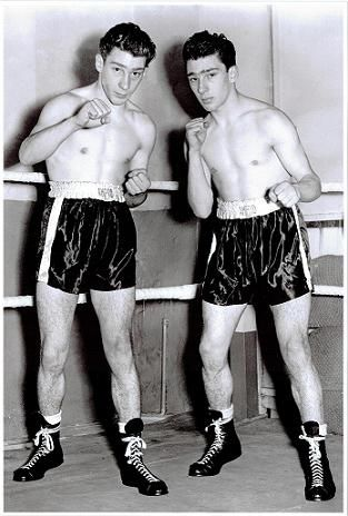 Twin heart-throb gangsters pre-darkside. Reggie & Ronald Kray (1953). Ron almost died from a head injury suffered in a fight with his twin brother in 1942.