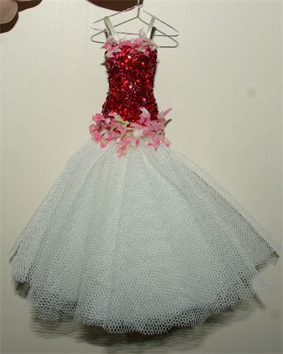Dorothy. 1/12 th Scale Ballroom gown BEAUTIFUL dreamy floaty and twinkly. All lovingly created on a little hanger..