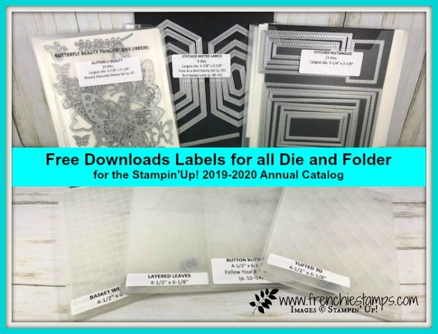 Free Download For Labels Of 2019 2020 Stampin Up Die And Embossing Folder Provided By Frenchiestamps Com Printable Chart Stampin Up Paper Craft Tutorials