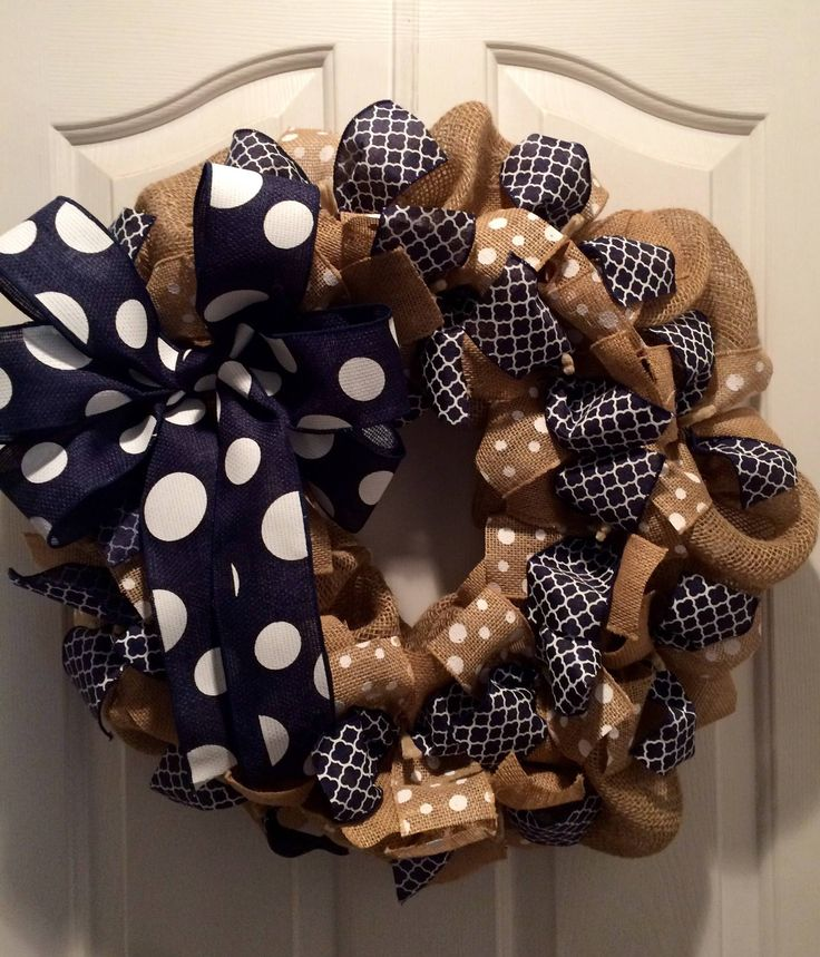 Wreath it! Burlap Wreath Wall Hanging-Natural Burlap, Navy - Made with our Patent Pending Wreath it! Base