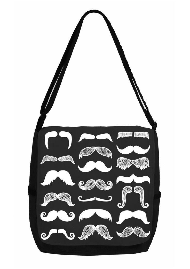 Mustache mania printed canvas bag.