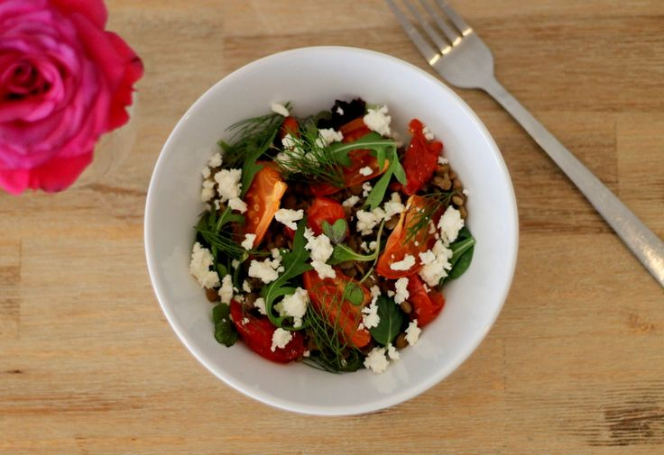 Roasted tomato, lentil and fennel salad #southafrica
