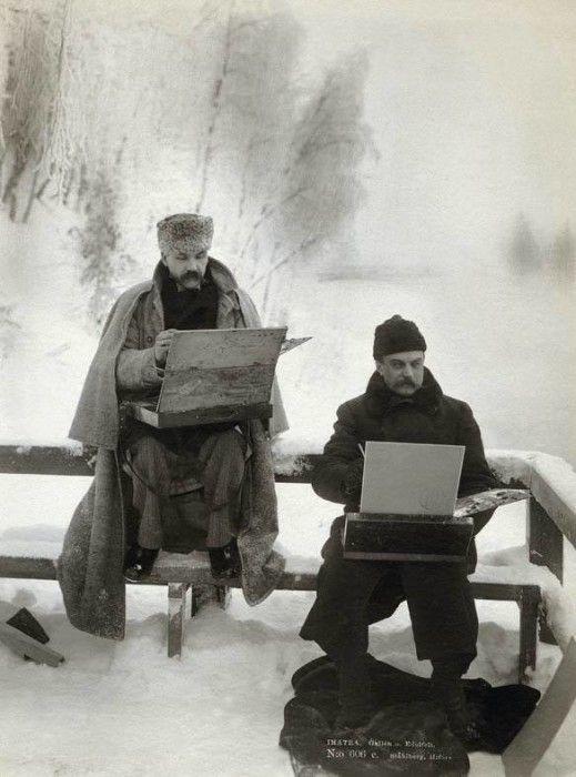 Finnish Painters Akseli Gallen-Kallela and Albert Edelfelt Painting in the Snow in 1893.  Burrr!!