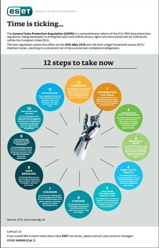GDPR | 12 steps to take to make sure you keep in line with the new guidelines | ESET Infographic