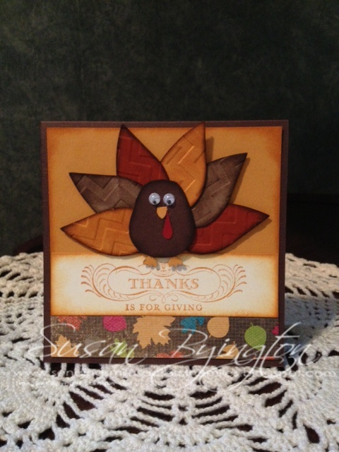 This was a fun Thanksgiving card we made at Stamp Club using the Owl Punch, Blossom Petals Builder Punch and the Chevron Embossing Folder, all from Stampin' Up!  There are 3 spots available to join my Stamp Club on the first Friday of the month.