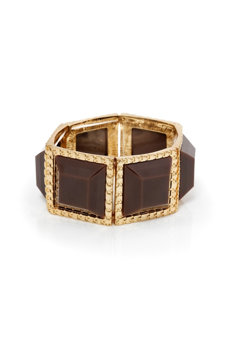 Chocolate brown squares lined with gold -- a candy bar you can wear (that looks good enough to eat). Gorgeous with browns, greys, neutrals; a stylish piece that works day-to-night.