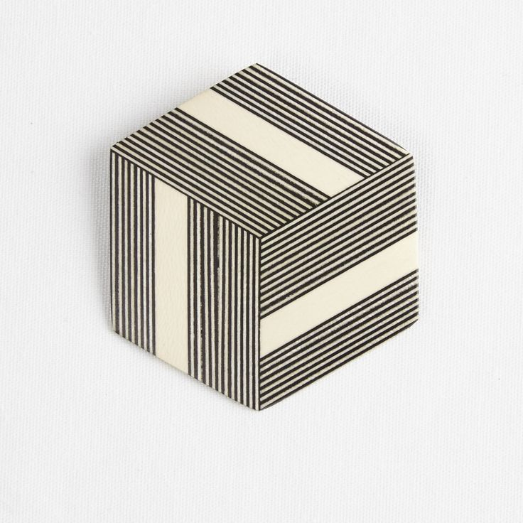 Darkroom Georges Larondelle Hexagon Brooch, Thin and Thick Stripes