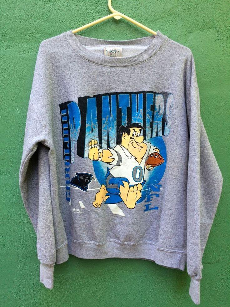 Vintage Flintstones Carolina Panthers #Football Sweater Crewneck L Sweatshirt #NFL from $19.95