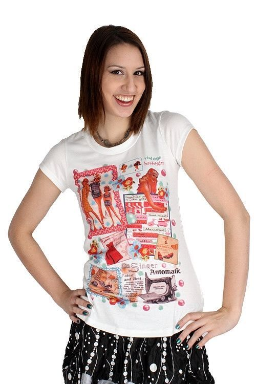 Yumi White Vintage Ad Top Retro Tee Barbi Girl Scrapbook T-Shirt K1469 $66 CAD