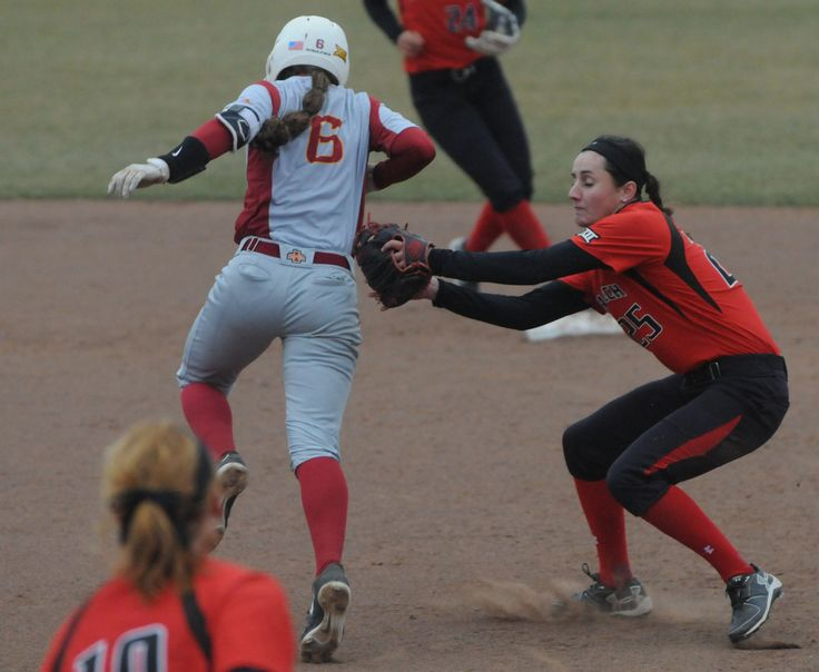 Iowa State's Logan Schaben gets tagged out by Texas Tech's 2nd baseman Kiana Workman during the third inning at Cyclone Sports Complex Friday. Photo by Nirmalendu Majumdar/Ames Tribune http://www.amestrib.com/sports/20170324/softball-iowa-state-gives-up-13-runs-in-first-falls-to-texas-tech-18-4-in-big-12-opener