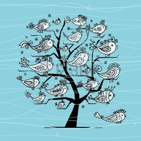 Underwater tree with funny fishes for your design Stock Vector