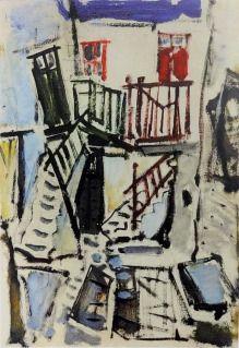 Γιάννης Σπυρόπουλος, Σκάλες σε δρομάκι της Μυκόνου Ι, 1955, λάδι σε χαρτί, 50×35…