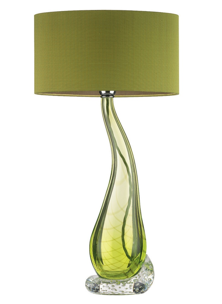 Designer lime green teardrop art glass lamp sharing luxury designer home decor