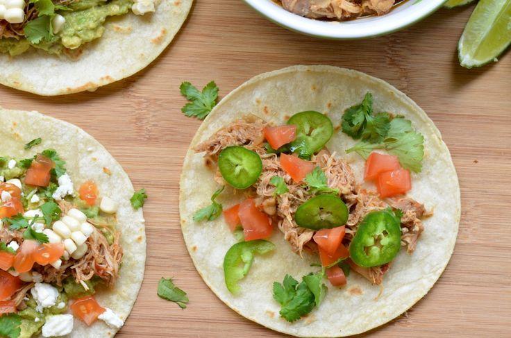 Corn tortillas shredded chicken tacos