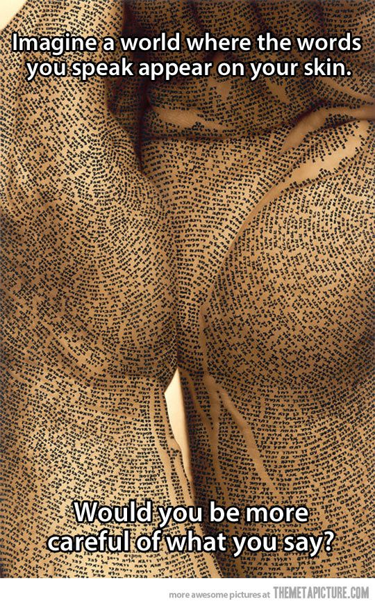 If words appeared on your skin...