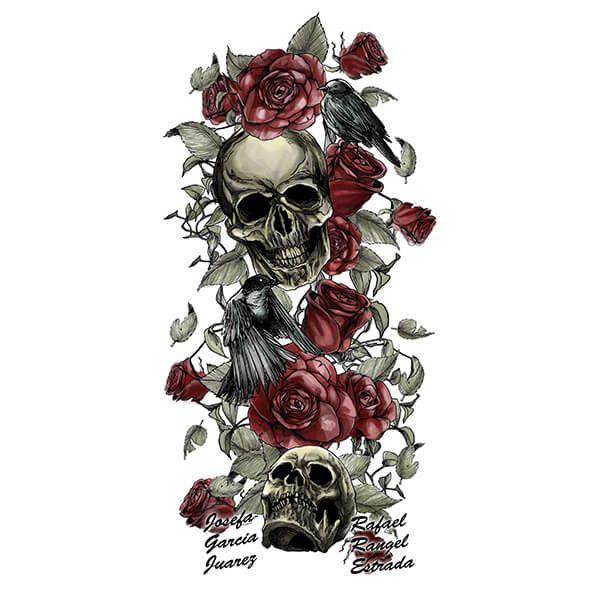 Skulls and Roses Tattoo Design