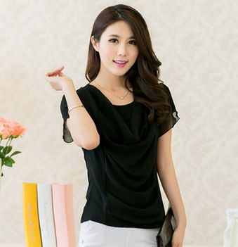 new 2014 women blouse S-4XL ruffles sleeve plaid blouses black white chiffon women work wear for summer (E-wear)