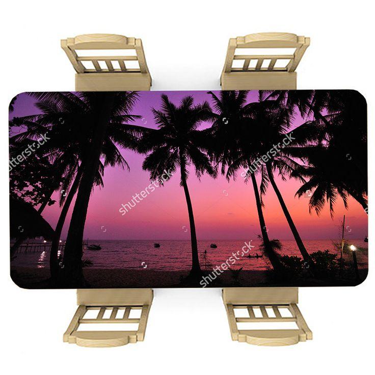 Tafelsticker Zonsondergang op vakantie | Maak je tafel persoonlijk met een fraaie sticker. De stickers zijn zowel mat als glanzend verkrijgbaar. Geschikt voor binnen EN buiten! #tafel #sticker #tafelsticker #uniek #persoonlijk #interieur #huisdecoratie #diy #persoonlijk #vakantie #tropisch #zonsondergang #paars #roze #palmbomen #palmboom #zee #oceaan