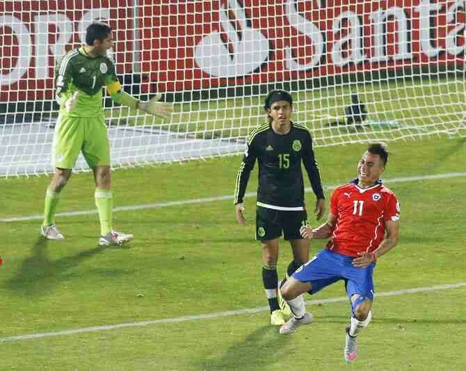 Chile 3 Mexico 3 in 2015 in Santiago. Eduardo Vargas scored on 41 minutes to make it 2-2 in Group A at Copa America.